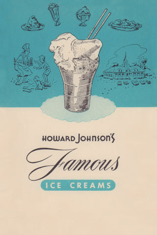 Howard Johnson's Famous Ice Creams 1950 Menu Art