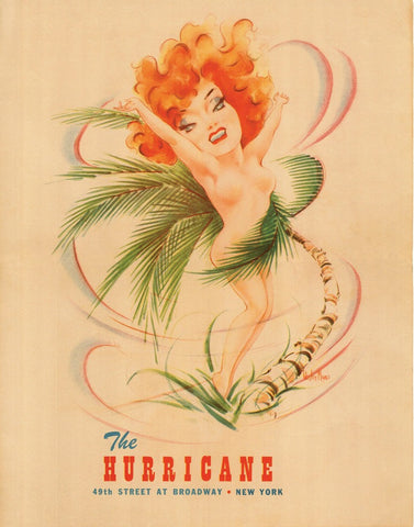 The Hurricane Nightclub, New York, 1940s Menu Art