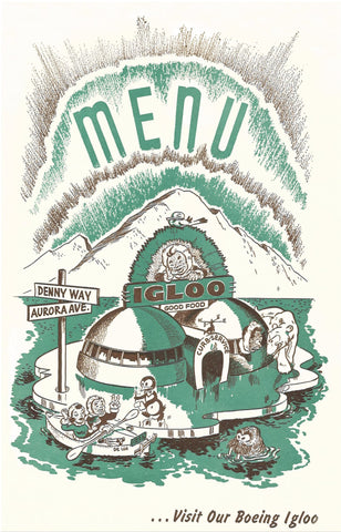 The Igloo, Seattle 1940s Menu Art