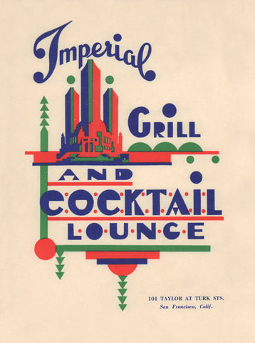 Imperial Grill & Cocktail Lounge, San Francisco 1940s Menu Art