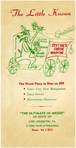 Irving's Chuck Wagon. Line Lexington, PA 1940s Menu Art