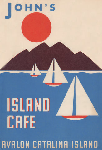 John's Island Cafe, Santa Catalina 1940s/50s Menu Art