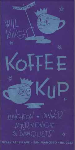 Will King's Koffee Kup, San Francisco 1948 Vintage Menu Art