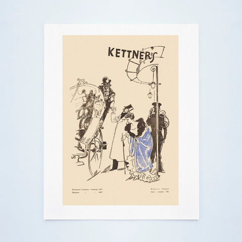 Kettner's, London 1955 Menu Art