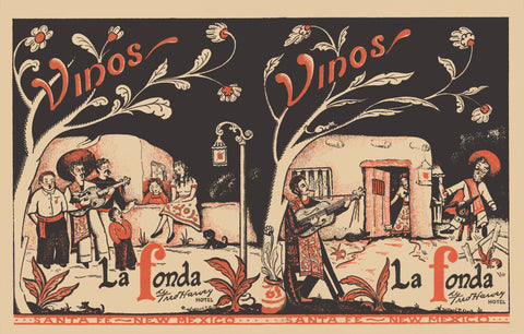 La Fonda, (Fred Harvey), Santa Fe 1950s Menu Art