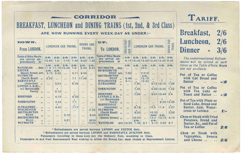 London and South Western Railway Dining Car Menu, 1906