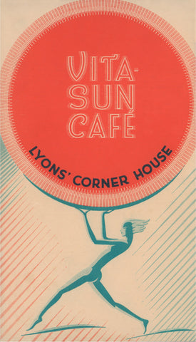 Vita-Sun Café, Lyons' Corner House London 1920s Menu art