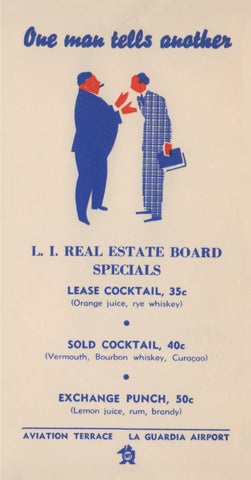 L.I. Real Estate Board Specials (Cocktails) Menu Art