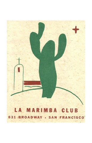 La Marimba Club, San Francisco 1930s menu art