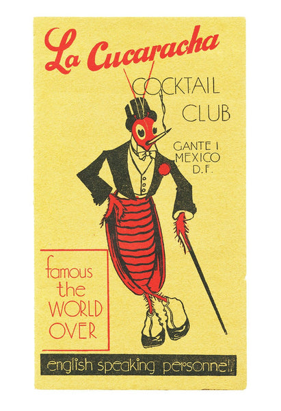 La Cucaracha Cocktail Club, Mexico City, 1930s Menu Art