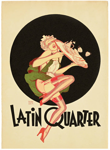Latin Quarter Nightclub, New York, 1950s Menu Art