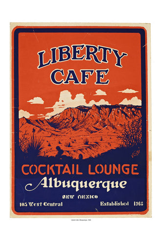 Liberty Cafe Albuquerque Vintage Menu 1946