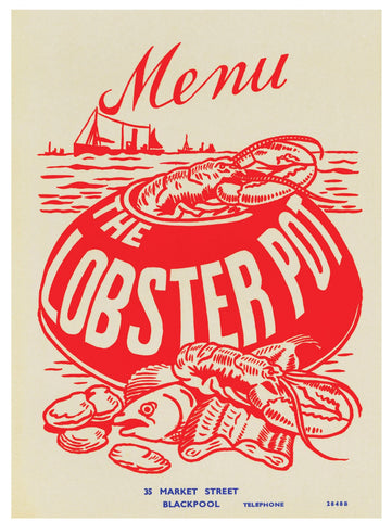 Lobster Pot Blackpool 1960s Menu Art