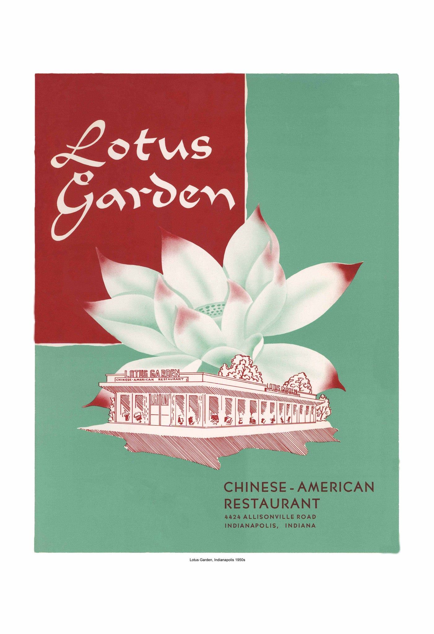 Lotus Garden Indianapolis 1950s Harley Spiller Collection Vintage