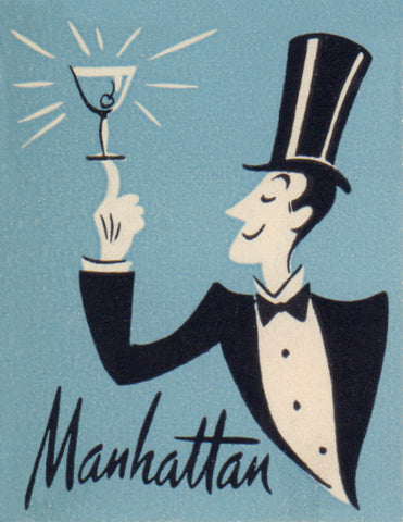 Manhattan Detail from Mark Twain Hotel, 1940s Menu Art