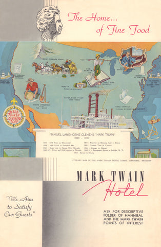 Mark Twain Hotel, Hannibal, MO, 1940s Menu Art