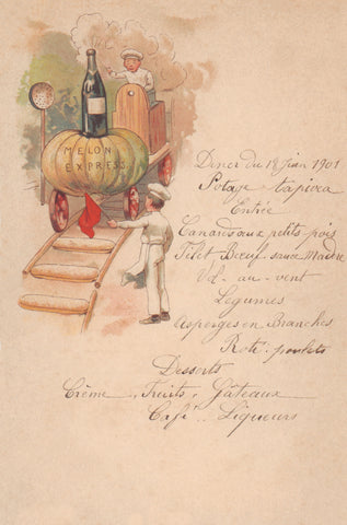 Le Melon Express, France 1901 Menu Art