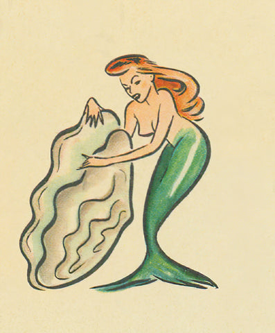 Mermaid opening oyster detail from The Oyster Loaf 1940s