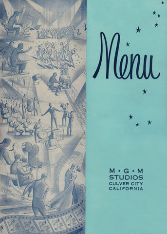 MGM Studio Menu, Culver City 1958 Menu Art