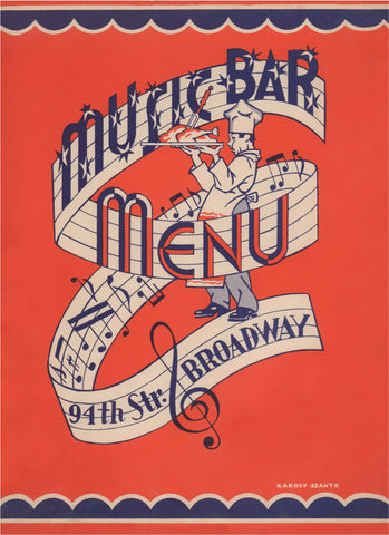 Music Bar, New York Upper West Side 1941 Menu Art