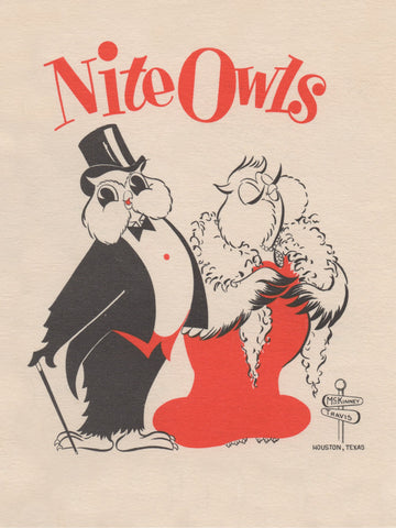 Nite Owls Menu, T & M Mart, Houston 1950s Menu Art
