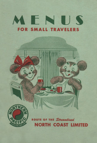 North Coast Limited Menu For Small Travelers 1951 Menu Art