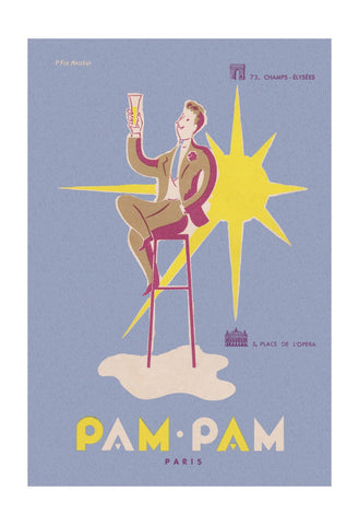 Pam Pam, Paris 1950s Vintage Menu Art by Pierre Fix-Masseau Cool Culinaria Vintage Menu Prints