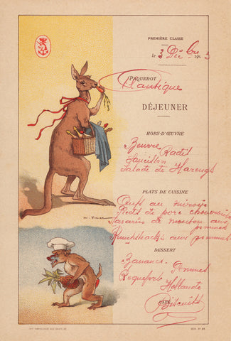 Le Paquebot L'Atlantique 1903 (Kangaroo) Menu Art by Auguste Vimar