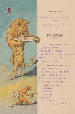 Le Paquebot Oxus 1906 (Lion) Menu Art by Auguste Vimar