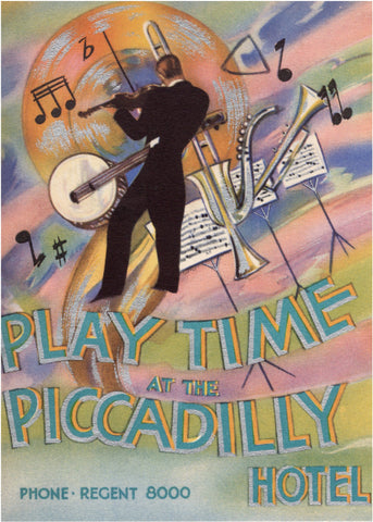 Playtime at the Piccadilly Hotel, London 1920s/30s London Menu Art