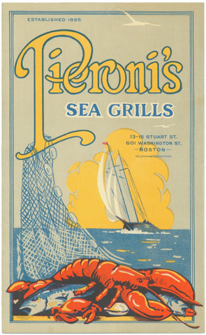 Pieroni's Sea Grills, Boston 1950s Menu Art