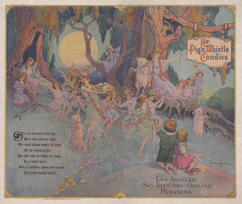 Ye Pig N Whistle Candies, California 1919 Menu Art