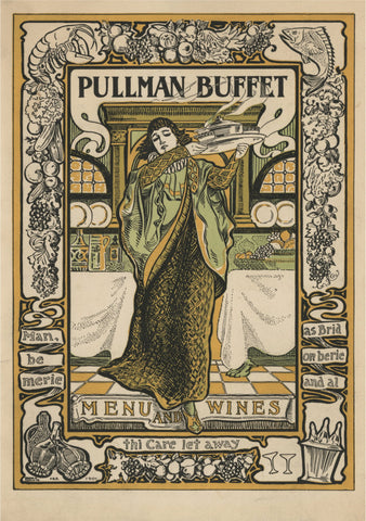 Pullman Buffet Menu and Wine List Early 1900s Menu Art