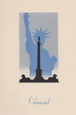 Queen Mary 1953 Menu Art London Trafalgar Square Nelson Statue Of Liberty