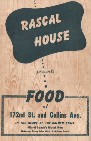 Wolfie Cohen's Rascal House, Miami Beach 1960s Menu Art
