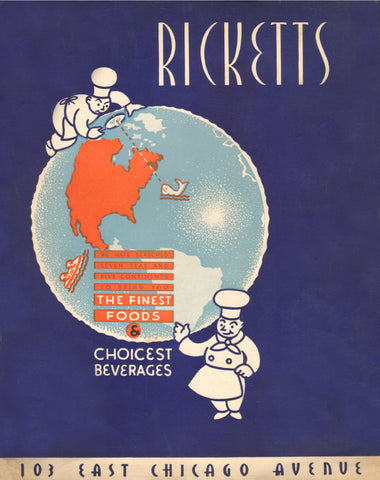 Ricketts, Chicago 1940 Menu Art