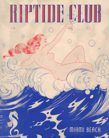 Riptide Club, Miami Beach 1930s Menu Art