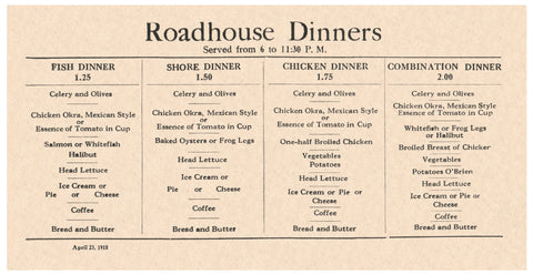 Roadhouse Dinners 1918