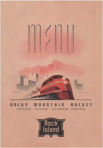 Rock Island Rocky Mountain Rocket, 1940s Menu Art