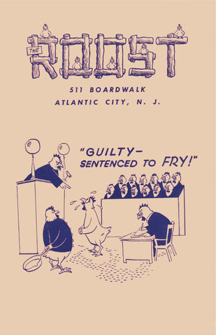 The Roost, Atlantic City 1946/7 Fried Chicken Menu Art