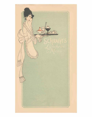 Schrafft's New York 1925s Menu Art