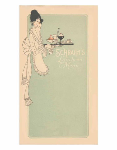 Schrafft's New York 1920s Menu Art