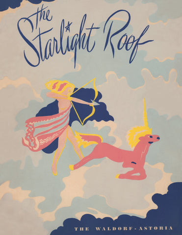 Starlight Roof, Waldorf Astoria, New York 1949 Menu Art