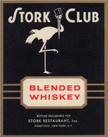 Stork Cub Liquor Label - Blended Whiskey 1940s