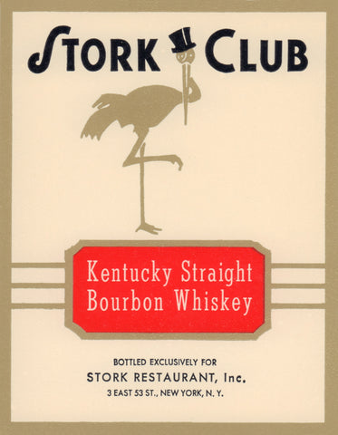 Stork Club Liquor Label - Kentucky Straight Bourbon Whiskey 1940s