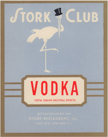 Stork Club Liquor Label - Vodka - 1940s