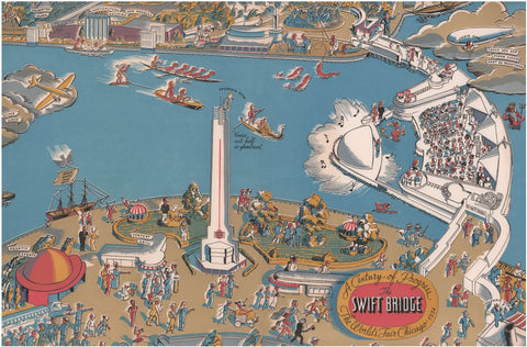 The Swift Bridge, The World's Fair Chicago 1934 Menu Art