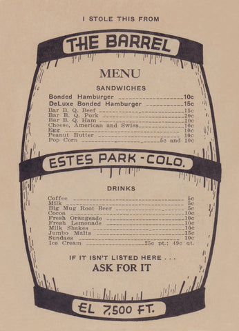 The Barrel, Estes Park CO 1930s Menu Art