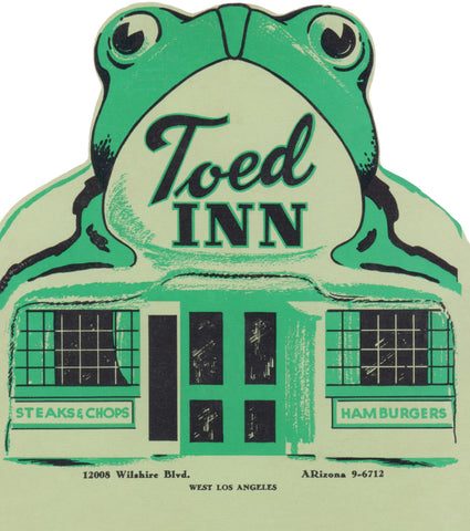 Toed Inn, Los Angeles 1953 Menu Art
