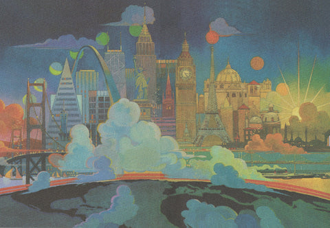 TWA Bob Peak Cities of the World In-Flight Menu 1970s Menu Art